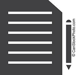 illustration, arrière-plan., stylo, vecteur, noir, blanc, document, icône