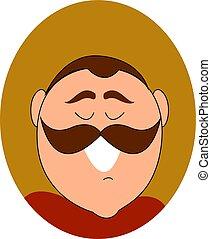 illustration, arrière-plan., vecteur, blanc, sourire, moustache, homme