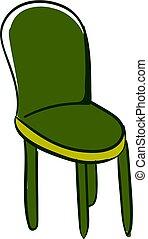 illustration, arrière-plan., vecteur, chaise verte, blanc, cuisine