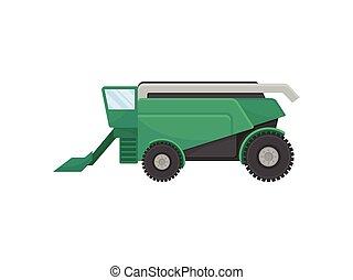 illustration, arrière-plan., vecteur, combiner, blanc vert, grain., récolte