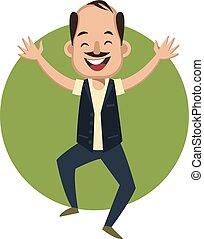 illustration, arrière-plan., vecteur, sauter, blanc, homme, heureux