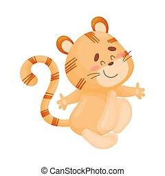 illustration, arrière-plan., vecteur, tiger., blanc, dessin animé