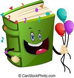 illustration, arrière-plan., vecteur, vert, tenue, ballons, blanc, livre