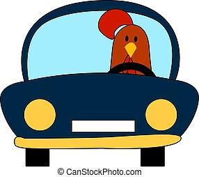 illustration, arrière-plan., vecteur, voiture, poulet, blanc