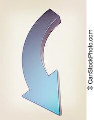 illustration., arrow., vendimia, style., 3d, azul