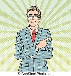 illustration, art, pointage, space., vecteur, pop, homme affaires, sourire, copie