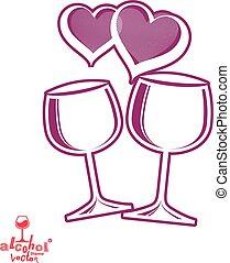 Illustration, artistisk,  Wineglasses