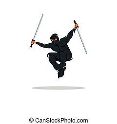 illustration., asia, fighter., assasin, vector, asiático, ninja, caricatura