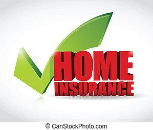 illustration, assurance, approbation, maison, marque, chèque