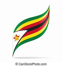 illustration., astratto, fondo., vettore, bandiera, ondulato, zimbabwean