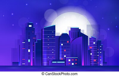 illustration., astratto, scape., urbano, città, sfondo scuro, notte