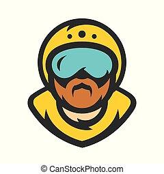 illustration., athlet, skydiving., vektor, fallschirmspringer, karikatur