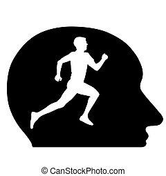 illustration., atleta, silhouette, idea., correndo, vettore, concettuale, testa, mio