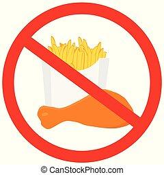 illustration, aucune nourriture, danger, isolé, jeûne, symbole, arrière-plan., vecteur, prohibition, label., permis, blanc, signe