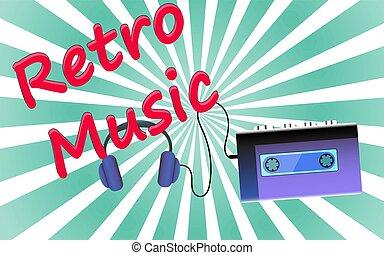 illustration, audio, vieux, contre, vendange, résumé, toile de fond, cassettes, joueur, premier, vecteur, musique, pellicule, écoute, affiche, hipster, soleil, circulaire, rays., retro