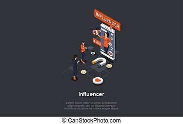 illustration, augmentation, business, influence, concept, isométrique, strategies., ou, promotion, social, média, gens, vecteur, loyauté, commercialisation, network., 3d, subscribers., influencer