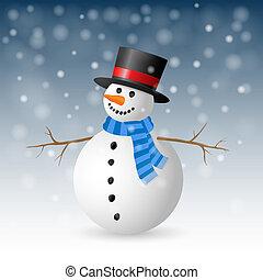 illustration., augurio, snowman., vettore, scheda natale