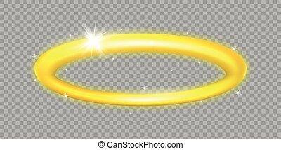 illustration., aureole, バックグラウンド。, 天使, 乱雲, 隔離された, 神聖, シンボル。, 天使, 金, circle., 聖者, ring., 透明, halo.