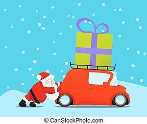 illustration., autó, rámenős, gift., vektor, szent, karácsony