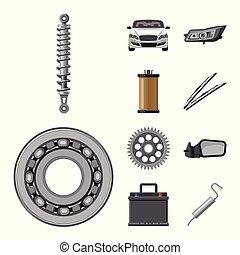 illustration., auto, teken., voorwerp, vrijstaand,...