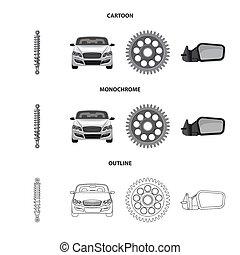 illustration., auto, verzameling, bitmap, deel, ontwerp,...