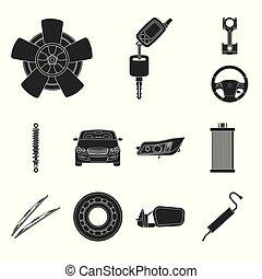illustration., auto, voorwerp, symbool., verzameling,...