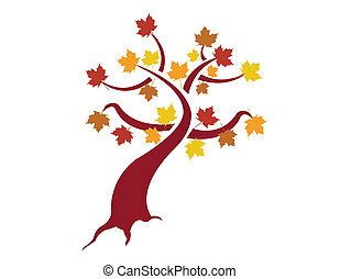 illustration, automne, arbre, conception