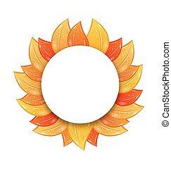 Autumn Blank Frame with Colorful Leaves, Isolated on White Background