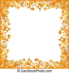 autumn frame made of various leaves