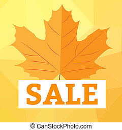 Autumn sale with yellow leaves on colored abstract spots