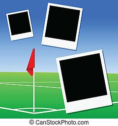 illustration, av, a, fotboll försäljningsargument, hörna, flagga