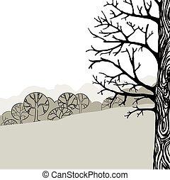 illustration, av, a, träd