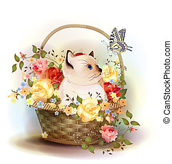 illustration, av, den, siamesisk, kattunge, sittande, in, a, korg, med, roses.