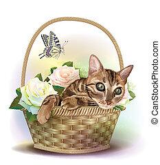 illustration, av, den, spräcklig katt, sittande, in, a, korg, med, roses.