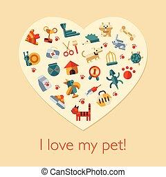 illustration, av, lägenhet, design, älsklingsdjur, komposition
