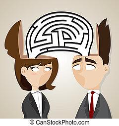illustration, av, tecknad film, affärsman, och, affärskvinna, med, labyrint, från, de, huvud, in, affär, problem, begrepp