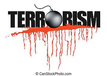 illustration, av, terrorism, rubrik