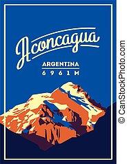 illustration., aventura, andes, al aire libre, poster., alto, argentina, aconcagua, montaña