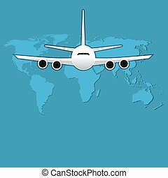 illustration., aviación, vector, aire, pasajero, civil, ...