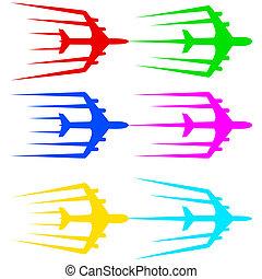 illustration., avion ligne, voler, stylisé, vecteur, avion,...