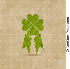 Illustration award ribbon with four-leaf clover for St. Patrick's Day, retro design - vector