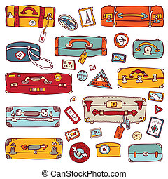 illustration., bőrönd, szüret, set., vektor, utazás