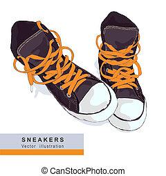 illustration., bacground., grigio, vettore, scarpe tennis, ...