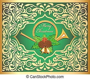 Illustration background Christmas card with horns, bells, leaves and berries, pine cones and gold ornaments.