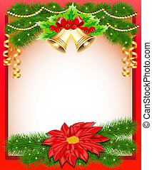 background Christmas with flower bells and fir branches