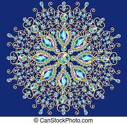 Illustration background circular ornaments of precious...