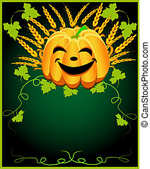 background for message with pumpkin and ear