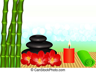 background for spa with bamboo and candle