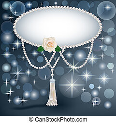 background for the invitation with pearls stars and a rose