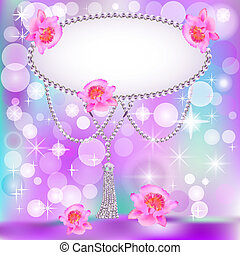 background for the invitation with pearls stars